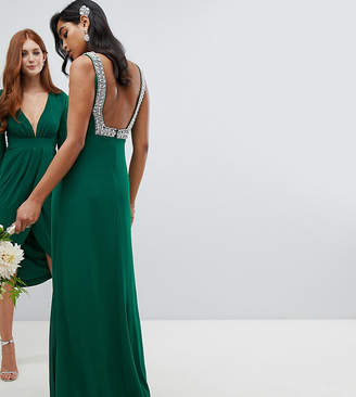 TFNC squared back embellished bridesmaids maxi dress in forest green