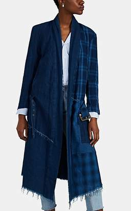 Greg Lauren Women's Patchwork Cotton Robe Coat - Blue