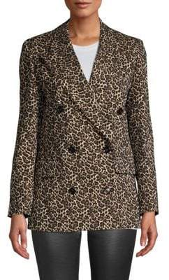 The Kooples Leopard Print Double Breasted Blazer
