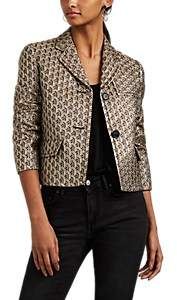 Prada Women's Metallic Brocade Crop Two-Button Blazer - Gold