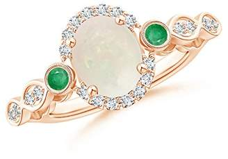 Angara.com October Birthstone - Vintage Oval Opal and Diamond Halo Ring with Bezel Set Emerald in 14K Rose Gold (9x7mm Opal)