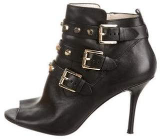 MICHAEL Michael Kors Leather Studded Ankle Boots Black Leather Studded Ankle Boots