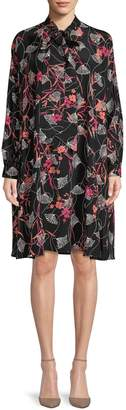 Valentino Printed Tie-Front Silk Shift Dress