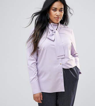 Unique 21 Hero Plus Long Sleeve Shirt With Tie Neck Detail