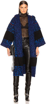 Alanui Animalier Embroidered Knit Coat in Blue | FWRD