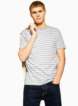 TopmanTopman Grey and White Stripe T-Shirt