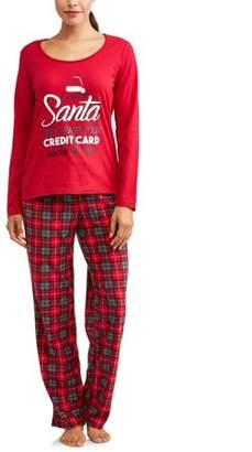 Family PJs Holiday Family Sleep Women's Plaid Santa Pajamas (2-Piece Set)