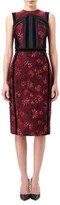 Altuzarra Lorenza Floral Jacquard Sheath Dress with Velvet Trim, Red