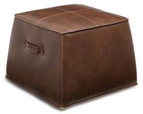 Distinctly Home Brock Leather Wood Cube Ottoman