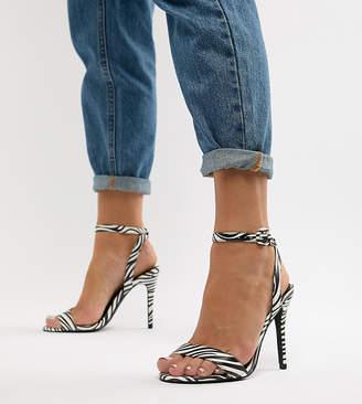 New Look Wide Fit Zebra Heeled Sandal