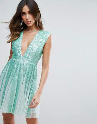 Asos Edition SALON Mint Sequin Paneled Fit and Flare Mini Dress