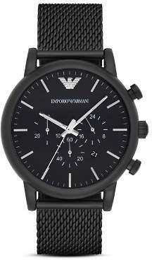 Giorgio Armani Quartz Chronograph Black Leather Watch, 41 mm