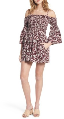 Women's Mimi Chica Smocked Cold Shoulder Romper $45 thestylecure.com