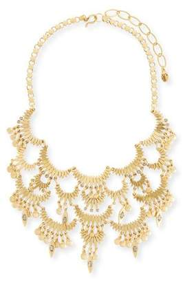 Sequin Tiered Golden Bib Necklace