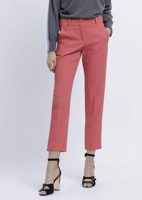 Emporio Armani Cropped Trousers In Textured Fabric