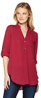 Amy Byer A. Byer Junior's Young Woman's Teen Long Sleeve Roll-Tab Tunic,M