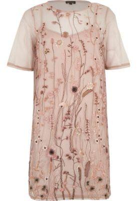 River IslandRiver Island Womens Pink mesh embroidered T-shirt dress
