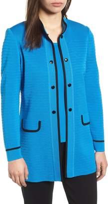 Ming Wang Textured Long Jacket