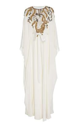 Marchesa Crystal-Embellished Tie-Detailed Silk Caftan Size: S