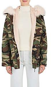 Yves Salomon Army by Women's Fur-Lined Camouflage Cotton Short Parka - Camo, Pea