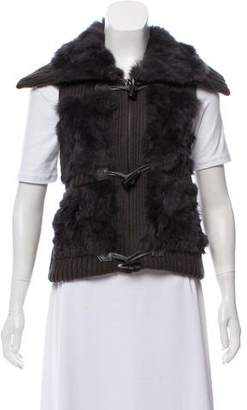 Yves Salomon Fur-Trimmed Rib Knit Vest