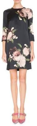 Erdem Emma Crewneck 3/4-Sleeve Floral-Print Silk Shift Dress
