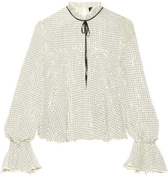 Saloni Tyler Tie-neck Sequined Tulle Blouse - Green