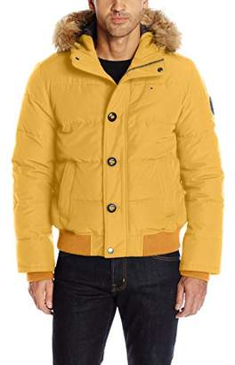 Tommy Hilfiger Men's Arctic Cloth Quilted Snorkel Bomber Jacket Removable Faux Fur Trimmed Hood