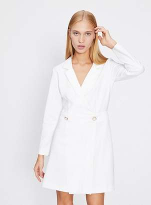 Miss Selfridge White tuxedo pearl button wrap dress
