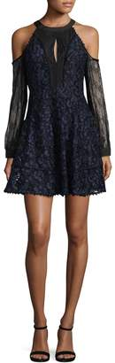 Allison Collection Women's Cold-Shoulder Combo Lace Dress