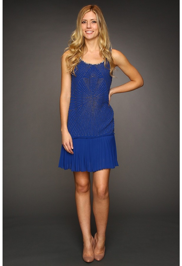 Vince Camuto Beaded Fress With Pleated Skirt VC2A1843 (Cobalt) - Apparel