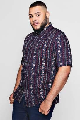 boohoo Big And Tall Floral Crepe Short Sleeve Shirt