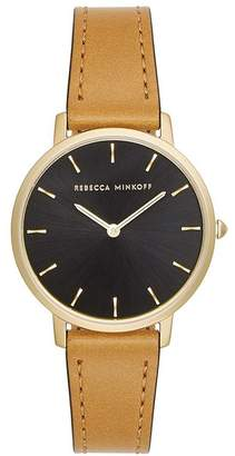Rebecca Minkoff Major Gold Tone Carmel Strap Watch, 35Mm