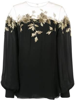 Oscar de la Renta floral embroidery blouse