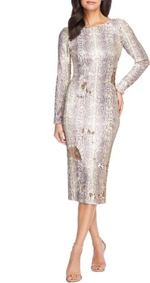 Dress the Population Emery Long Sleeve Sequin Sheath Dress