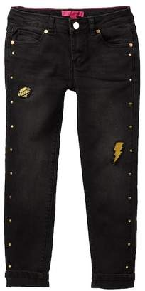 Betsey Johnson Metal Stud Patch & Detail Skinny Cuffed Jeans (Big Girls)