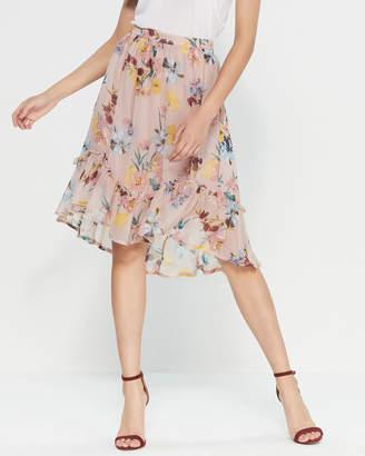 Band of Gypsies Ruffle Floral Midi Skirt