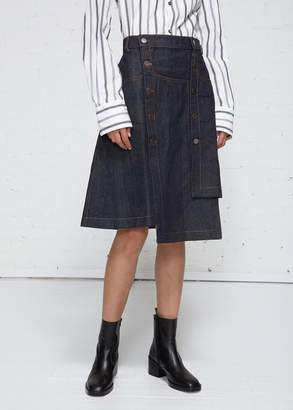 Delada Button Down Asymmetrical Denim Skirt