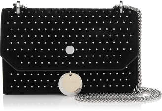Jimmy Choo FINLEY Black Suede Cross Body Mini Bag with Silver Micro Studs
