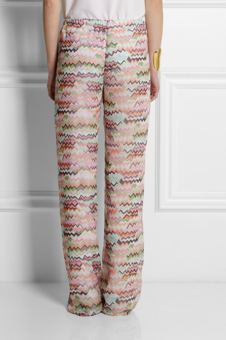 Missoni Printed silk-georgette wide-leg pants