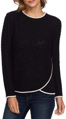 CeCe Cable Knit Overlay Cotton Sweater