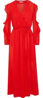Maje Remy Cold-shoulder Ruffled Chiffon Midi Wrap Dress