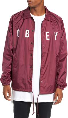 Obey Anyway Snap Front Hooded Coach's Jacket