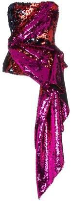 Halpern Sequin Embellished Strapless Top