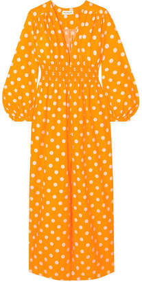 Nicholas Smocked Polka-dot Cotton And Silk-blend Maxi Dress - Saffron