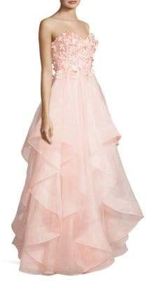 Basix II Black Label Strapless Floral Ruffle Gown