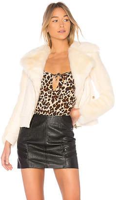 For Love & Lemons Andi Faux Fur Moto Jacket