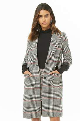Forever 21 Twill Glen Plaid Button-Front Coat