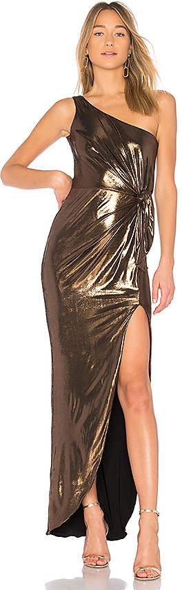 X REVOLVE Disco Drape Dress in Metallic Bronze. - size S (also in L,M,XS) Nookie