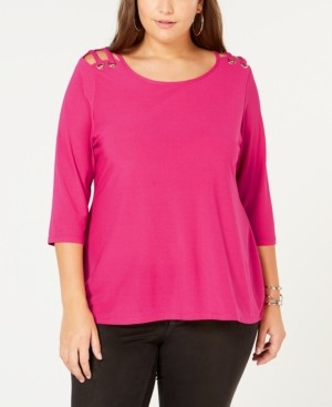 Belldini Belle by Plus Size Cutout-Shoulder Top
